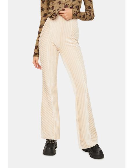 Champagne Stripe Slim Pull On Velvet Flare Pants