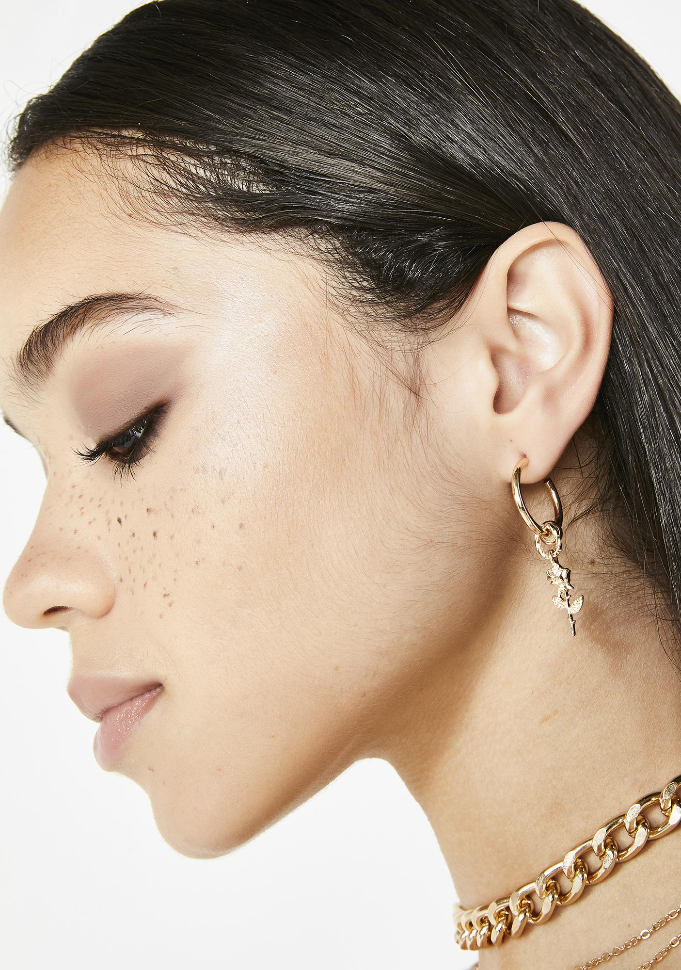 Beloved Rose Hoop Earrings