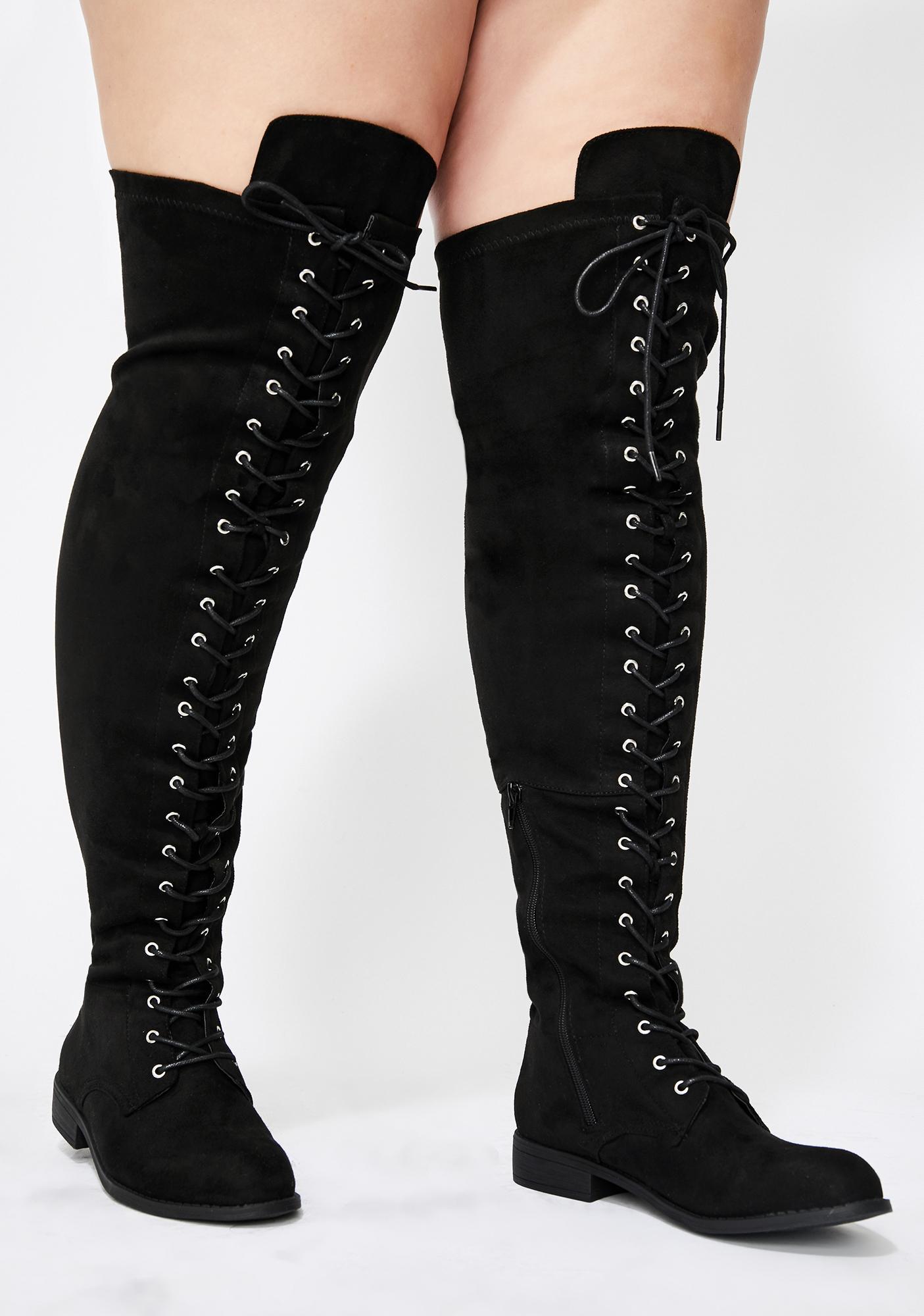 Wide Calf OTK Lace Up Boots | Dolls Kill