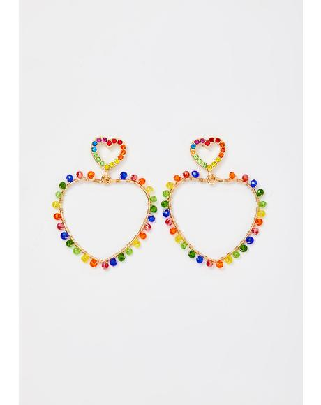 Kaleidoscope Hearts Rainbow Earrings