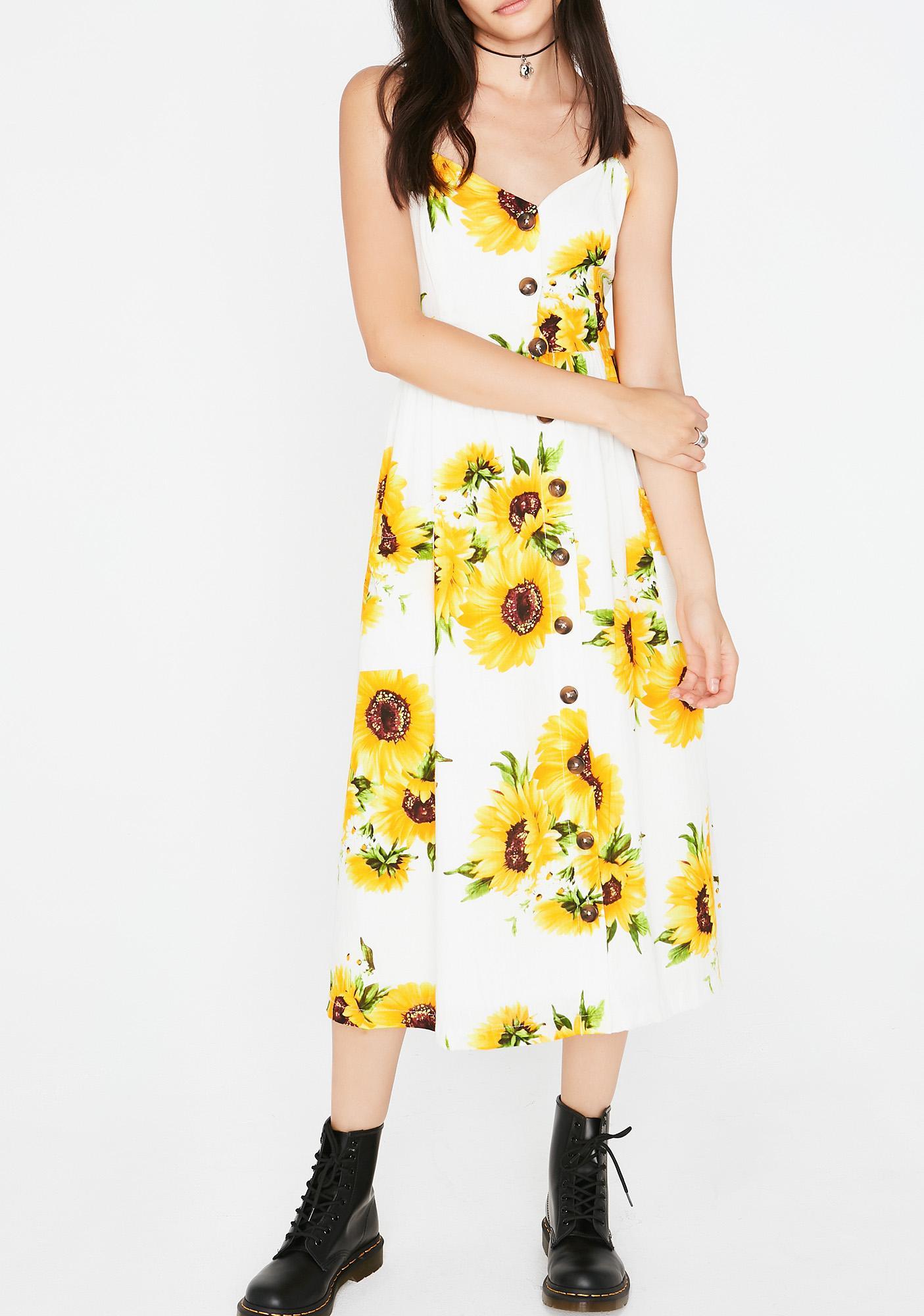 Sunshine Flower Midi Dress