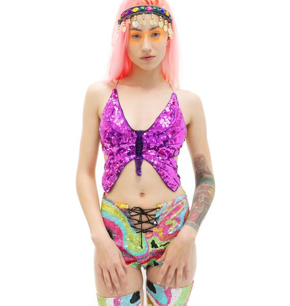 Morphe Like A Butterfly Babe Sequin Top