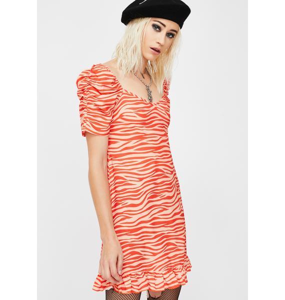 NEW GIRL ORDER Zebra Print Puff Sleeve Mini Dress
