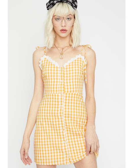 Take My Digits Gingham Dress