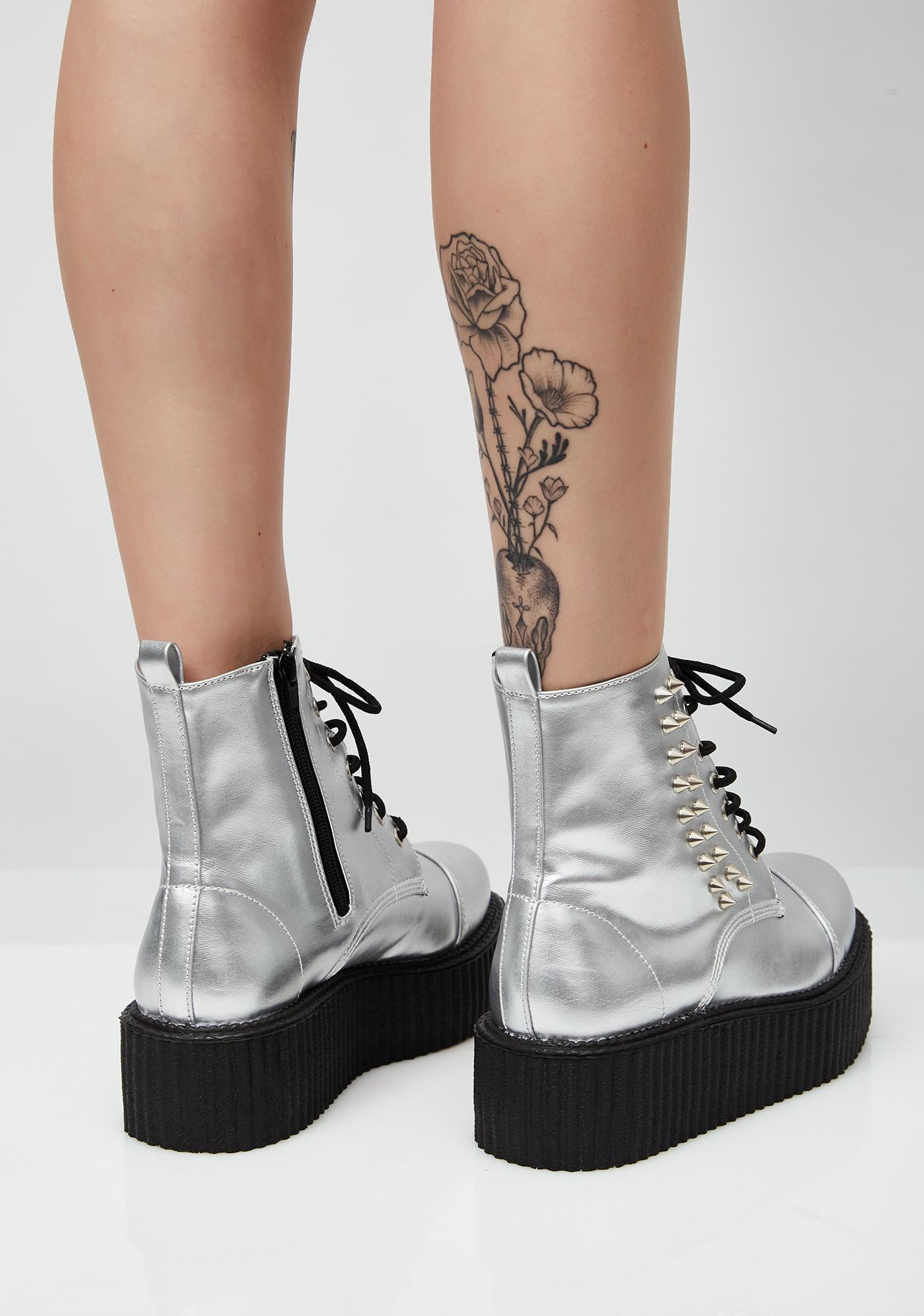Demonia Metallic Vegan Leather V-Creeper