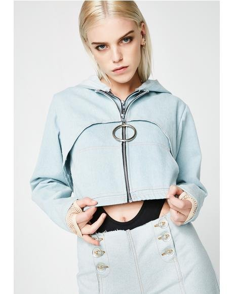 Denim Double Crop Hoodie