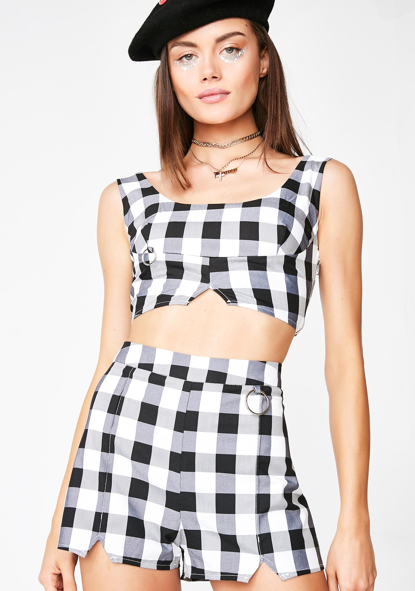 Dark Baddest Around Gingham Set