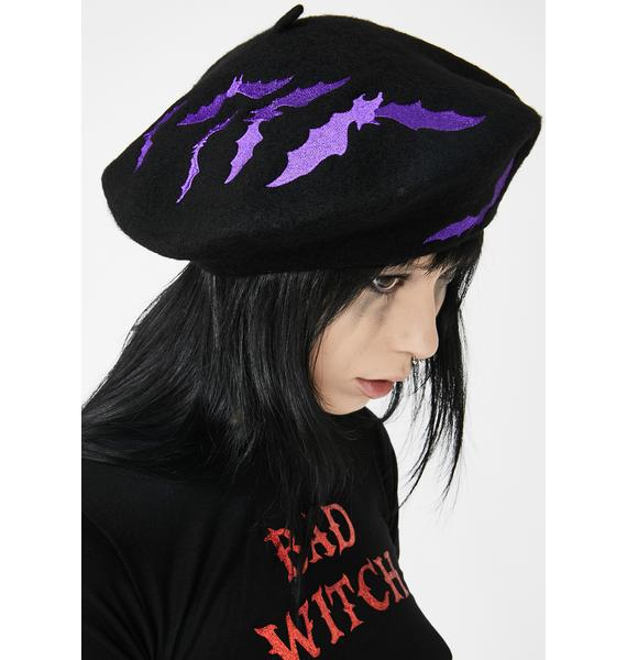 Kreepsville 666 Bat Repeat Purple Beret Hat