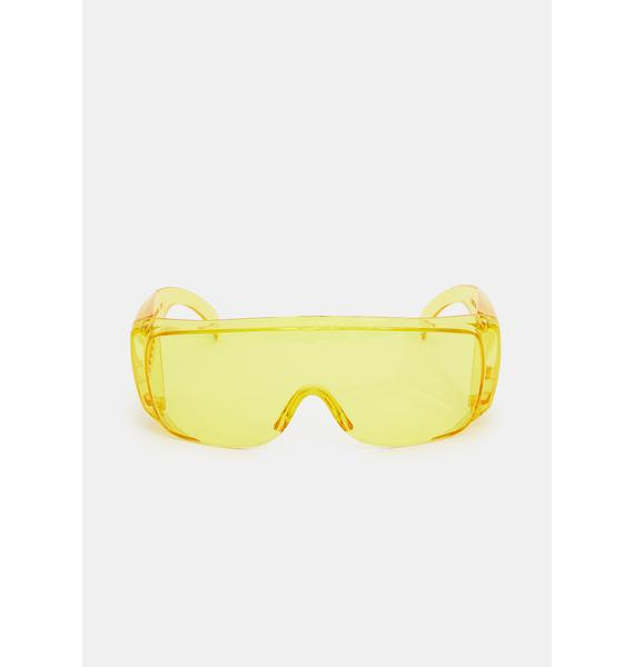 Caution Pass The Test Shield Sunglasses