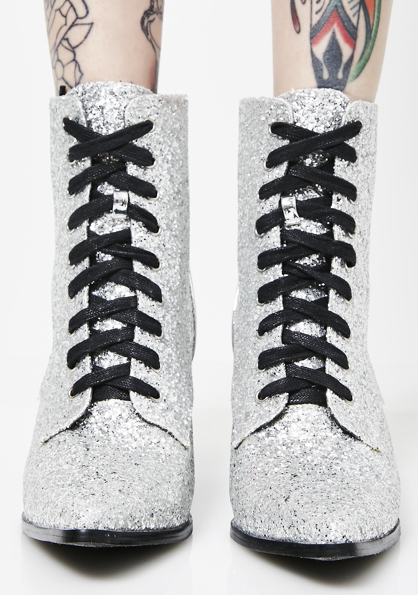 Platinum Good Witch Lace-Up Booties