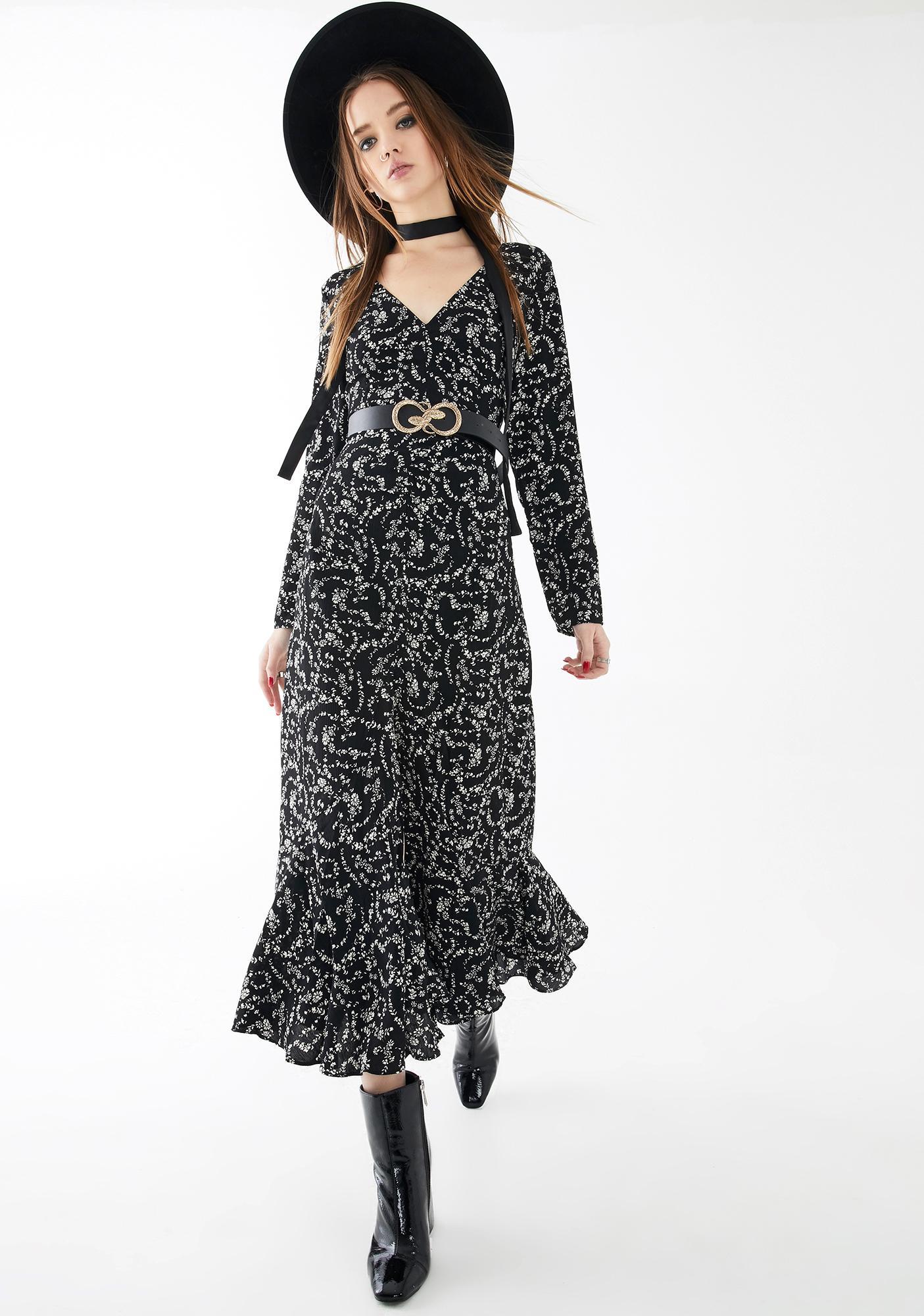Glamorous Black Cream Print Maxi Dress