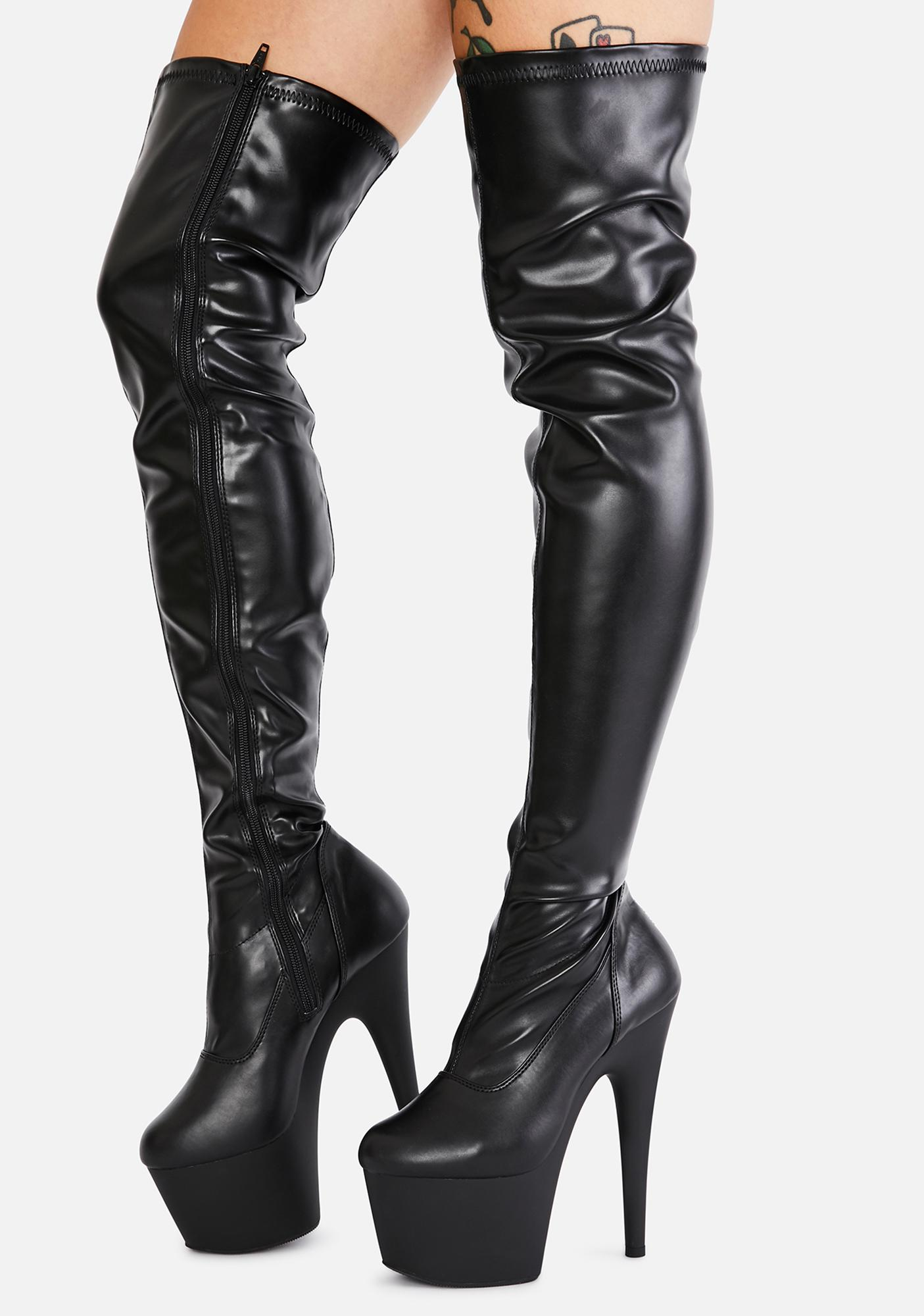 Pleaser Ink Club Strut Thigh High Boots