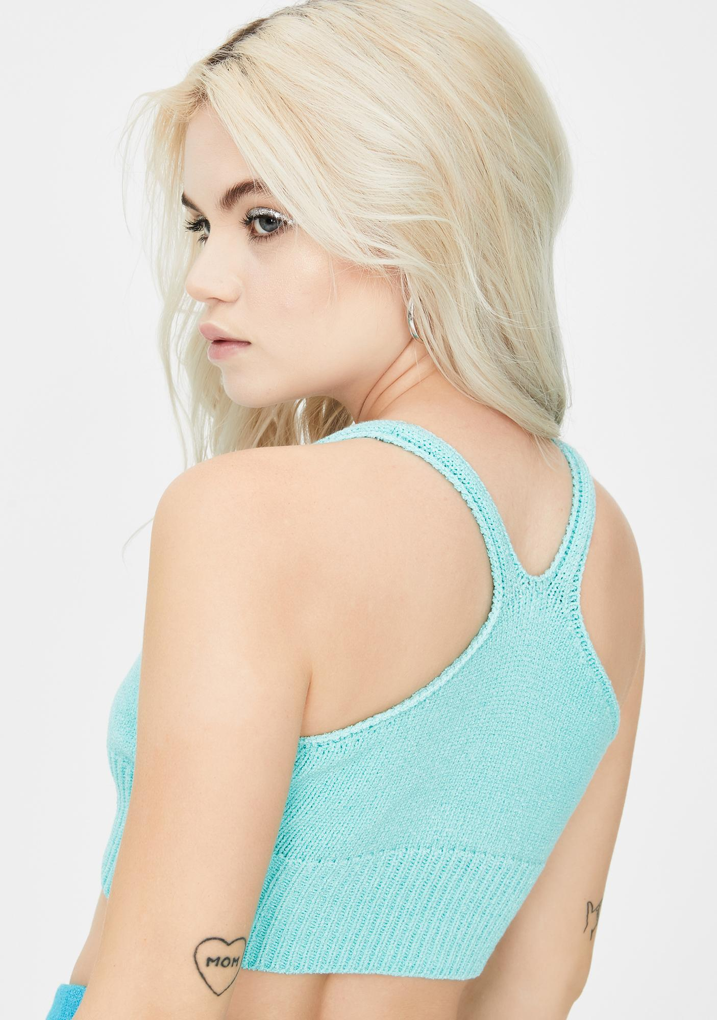 Knitty Kitty Solid Blue Knit Bralette