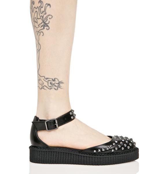 T.U.K. Black Leather Flats
