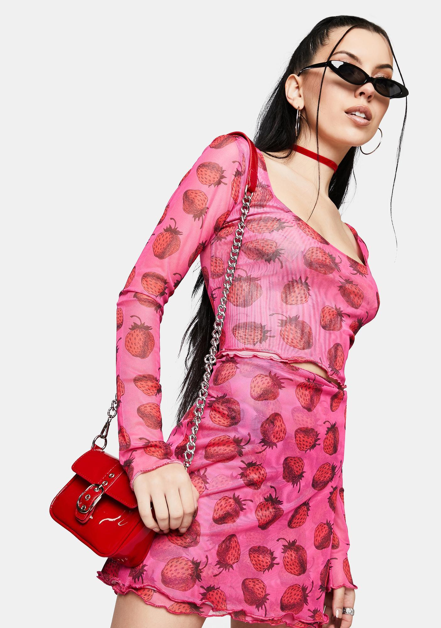 NEW GIRL ORDER Strawberry Mesh Mini Skirt