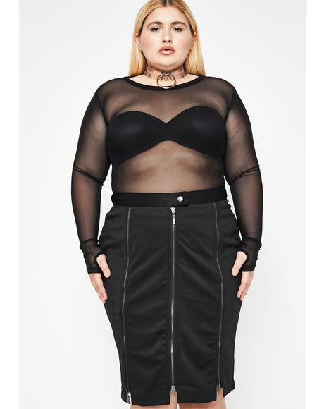 Baddie Trial N' Error Zipper Skirt