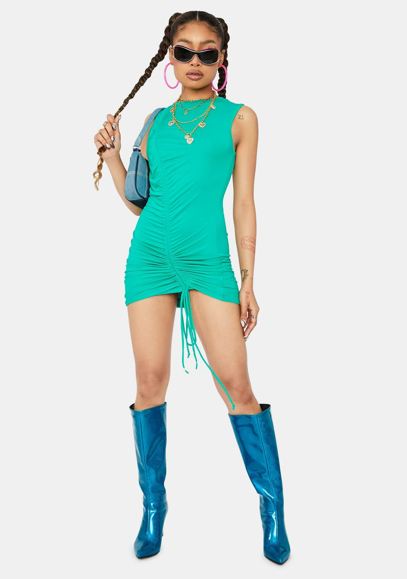 Mint Ride This Feeling Ruched Tank Dress