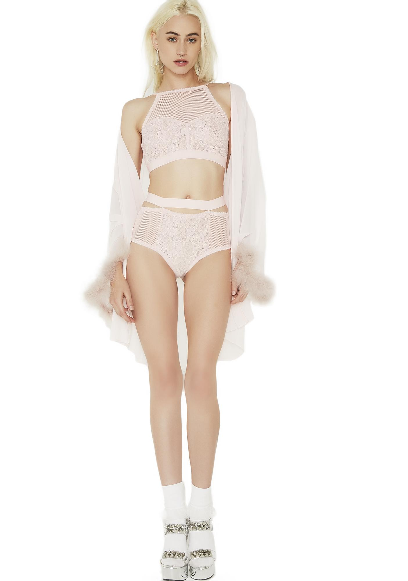 Sheer Fishnet Lace Lingerie Set Pink | Dolls Kill