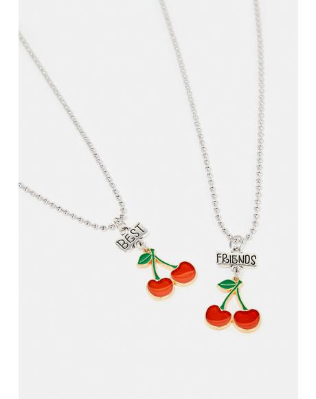 BFF 4 Ever Cherry Charm Necklace