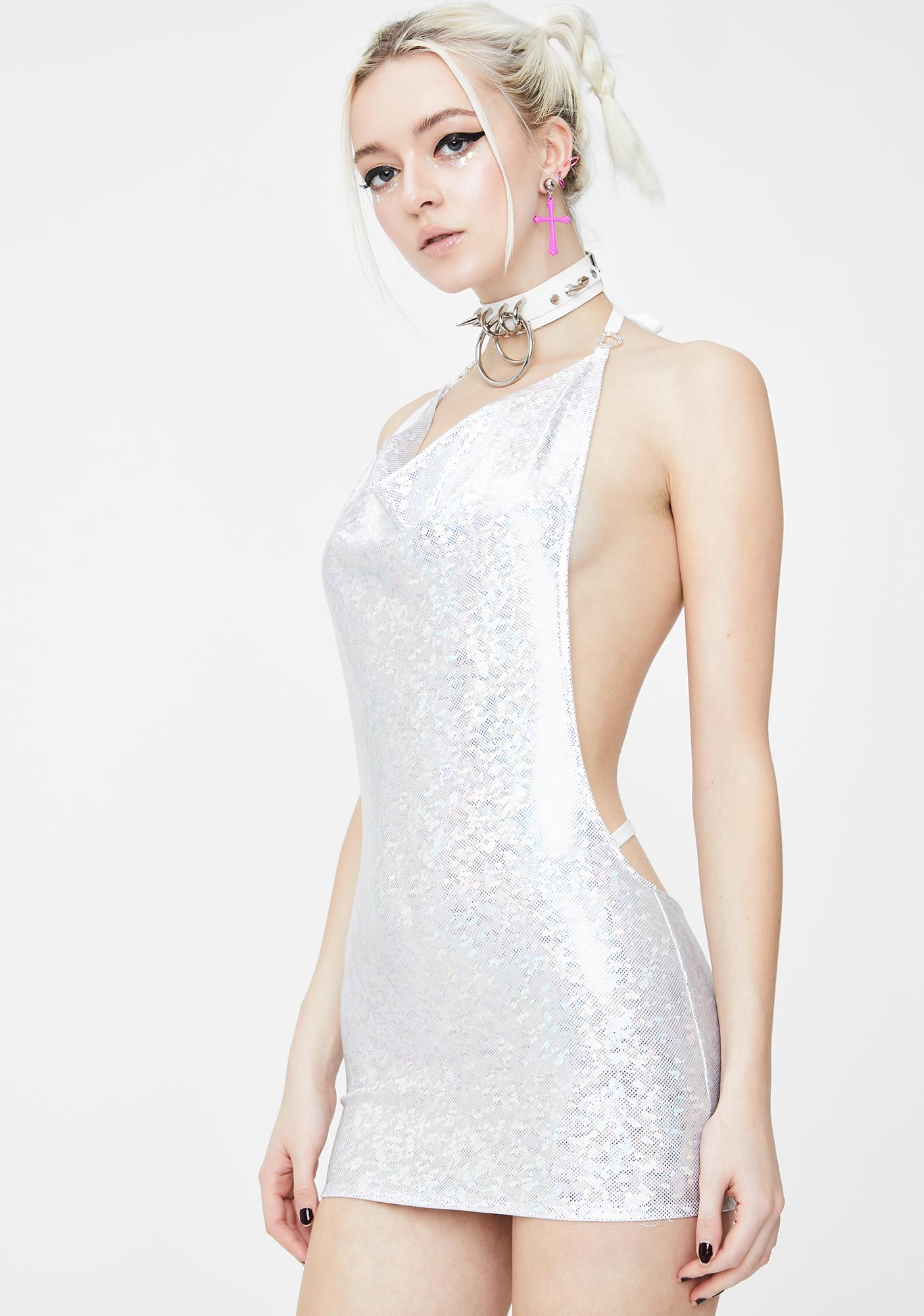 Shay Kawaii Mermaid Holographic Mini Dress