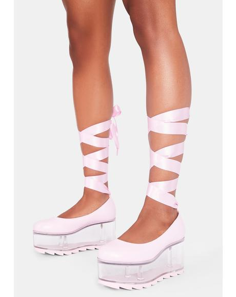 Pink Qloud Swan Lace Up Platforms