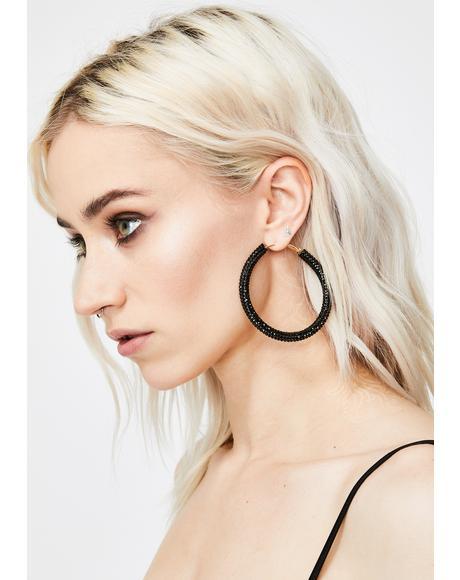Clout Chaser Rhinestone Hoop Earrings