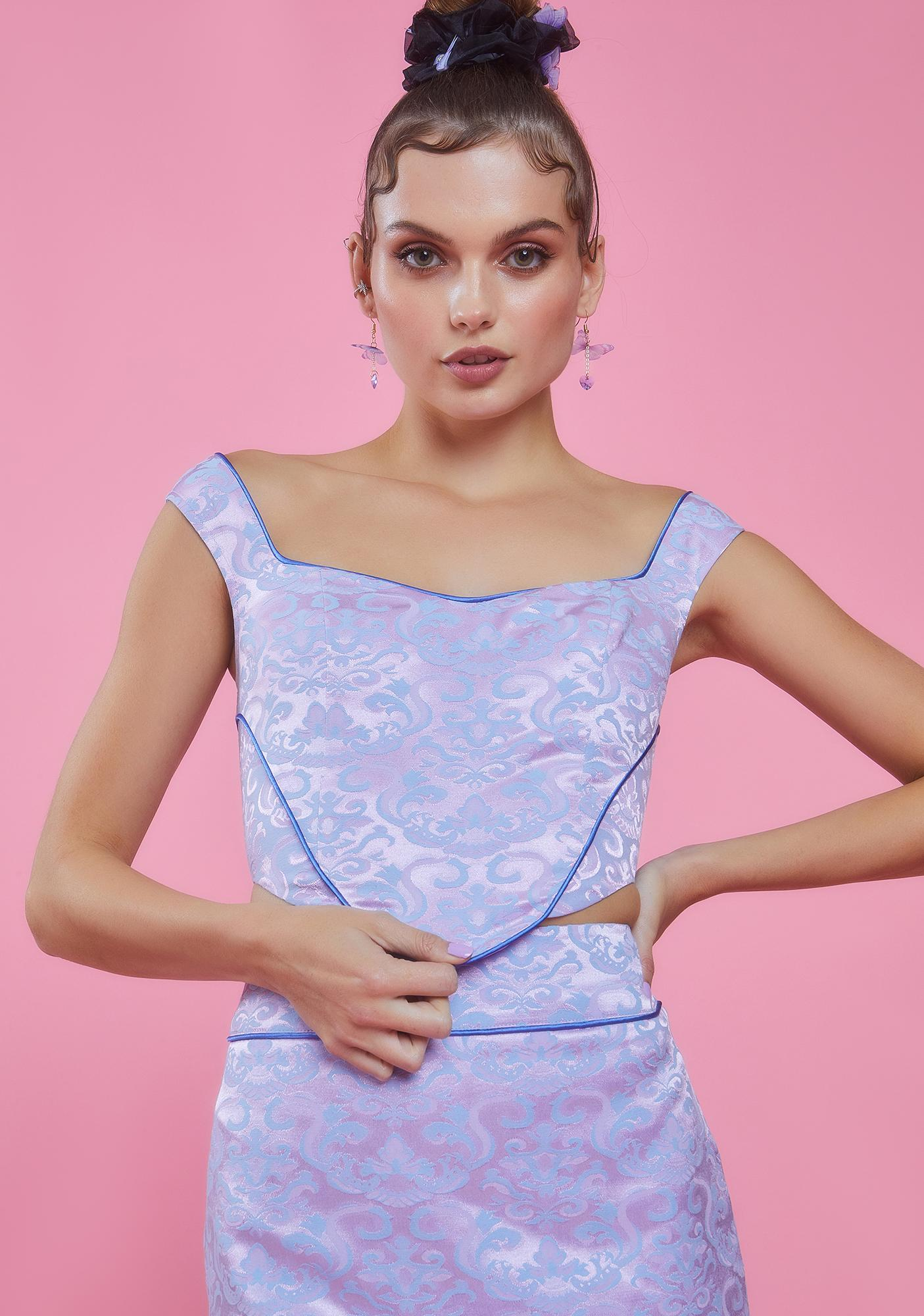 Sugar Thrillz Stole The Show Jacquard Bustier Top