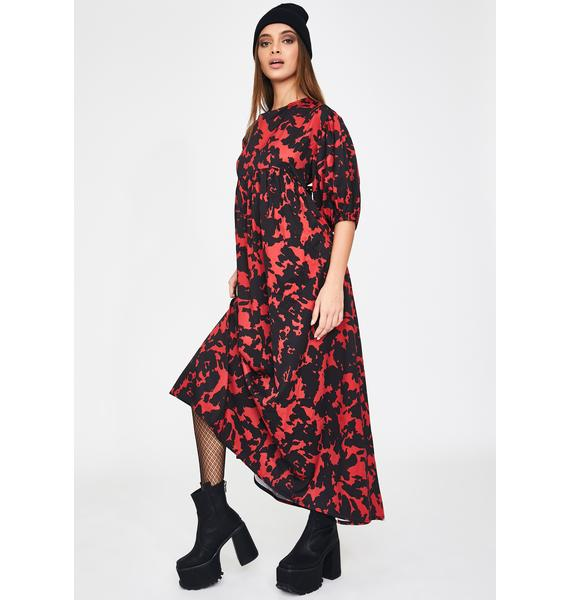 Another Reason Red Abstract Maxi Dress