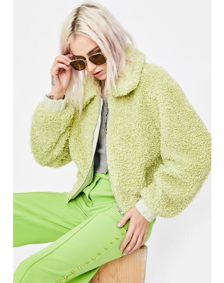 Avocado Green Faux Fur Jacket