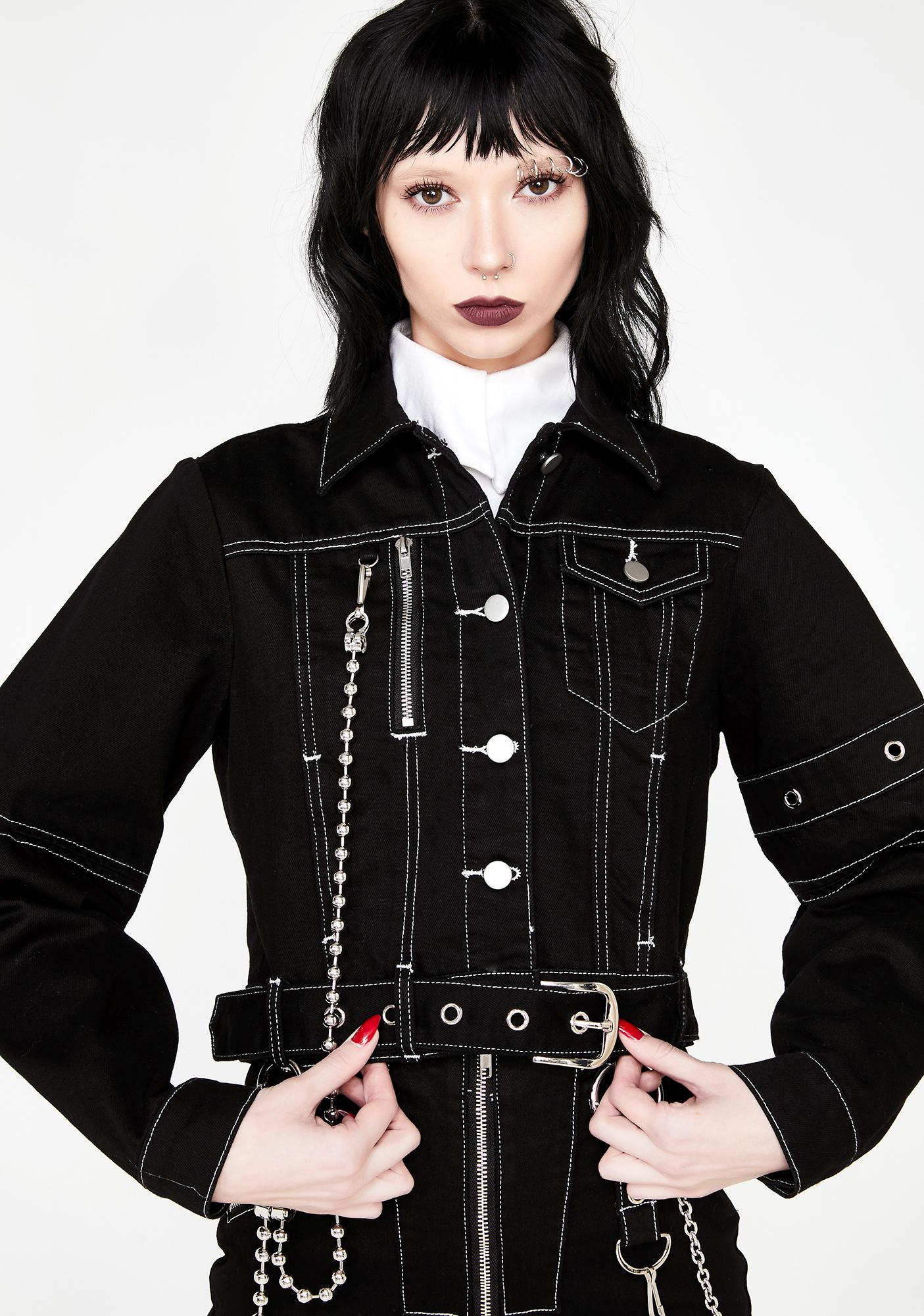 Disturbia Discord Cropped Denim Jacket