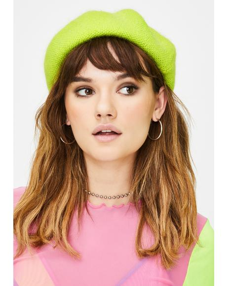 Lime She's Fancy Knit Beret