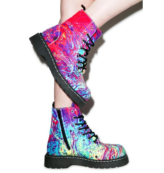 T.U.K. Mix Paint 7 Eye Combat Boots