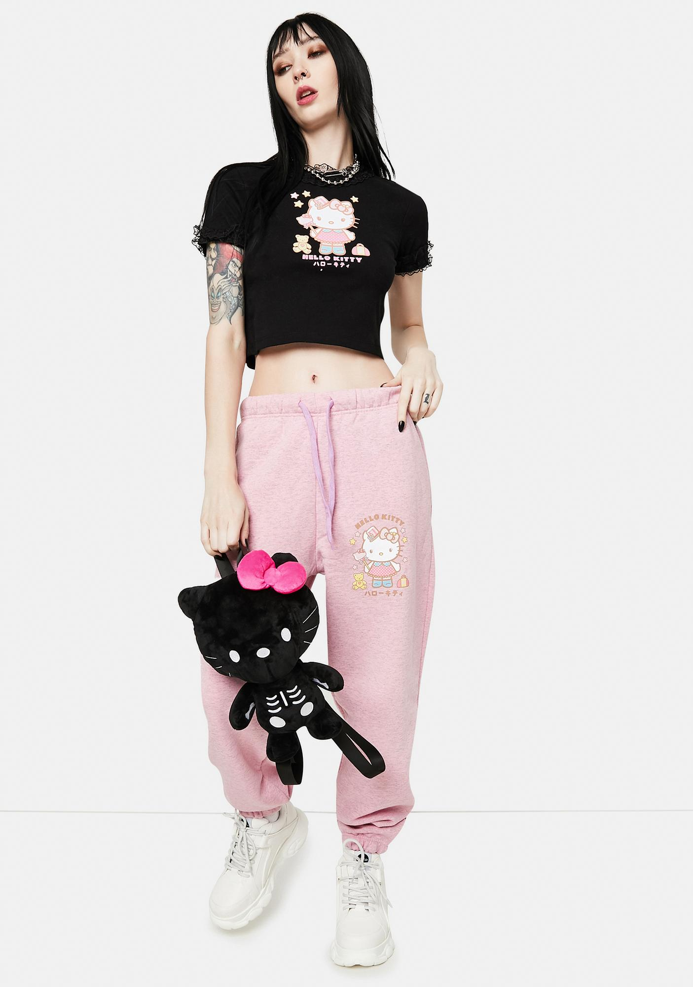 NEW GIRL ORDER Black Hello Kitty Crop Graphic Tee