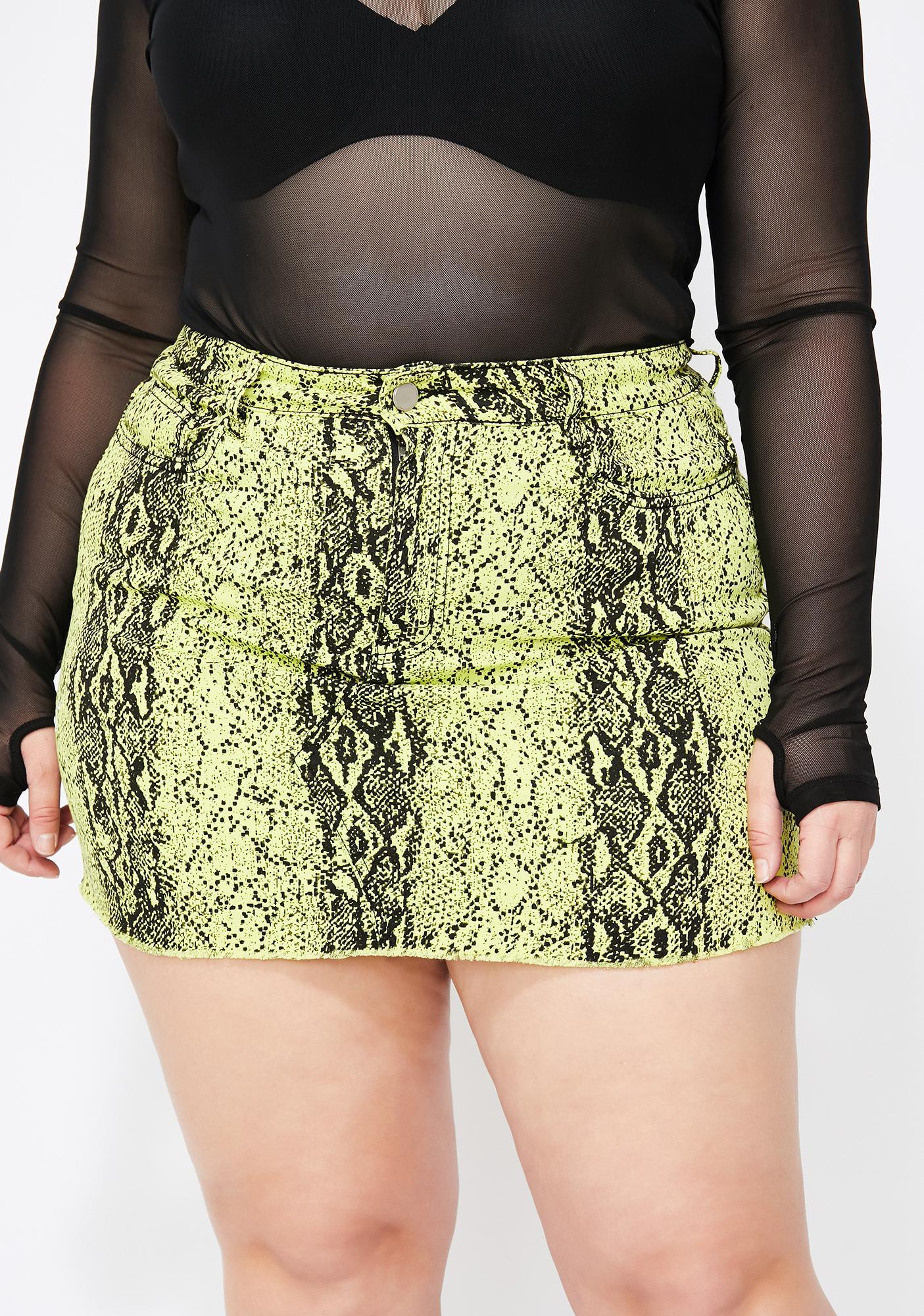 6fb6b4348cc2 Plus Size Yellow Snake Print Mini Skirt   Dolls Kill