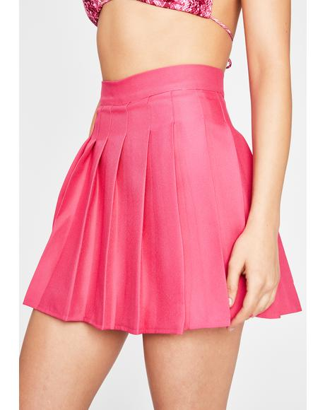 Magenta Just Like Candy Pleated Skirt