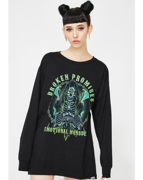 Grim Graveyard Long Sleeve Graphic Tee