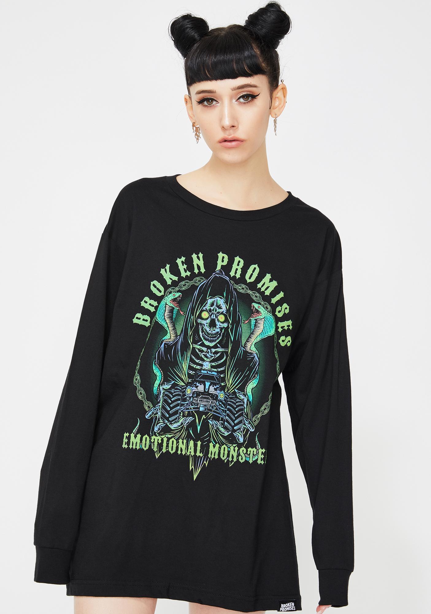 BROKEN PROMISES CO Grim Graveyard Long Sleeve Graphic Tee