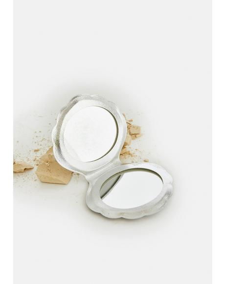 Silver Don't Be Shellfish Compact Mirror