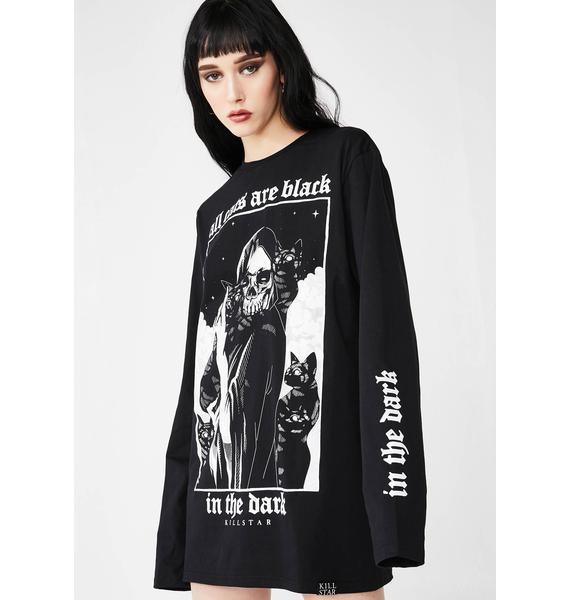 Killstar Black Cats Long Sleeve Top
