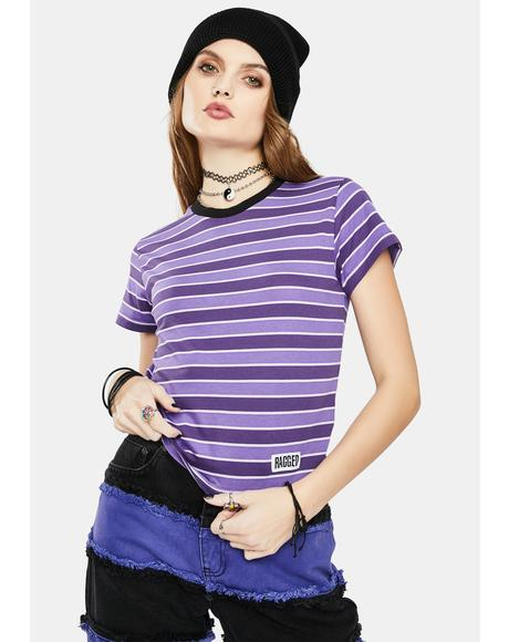 Defy Striped Crop Tee