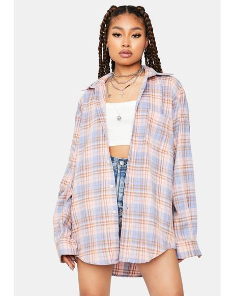 Kiss Drama Diaries Long Sleeve Flannel Shirt