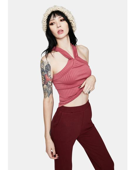 Rose Catching Up Crop Halter Top