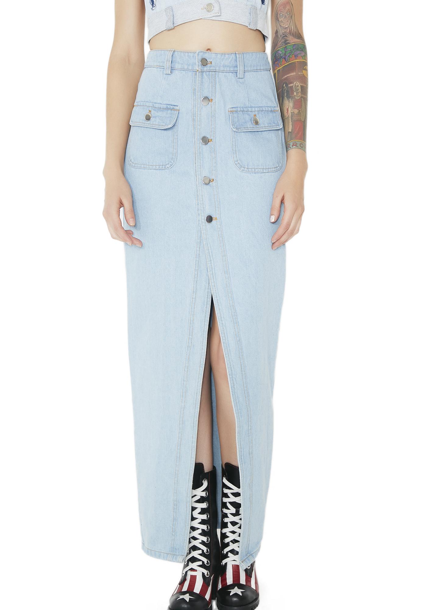 Denim Button Maxi Skirt