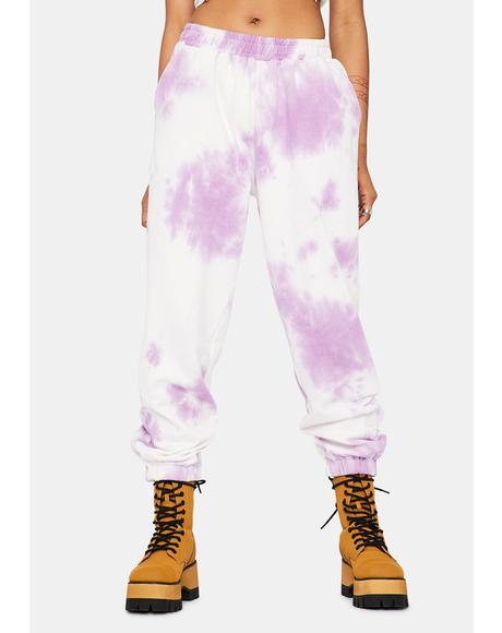Lilac Plush Pleasers Tie Dye Sweatpants