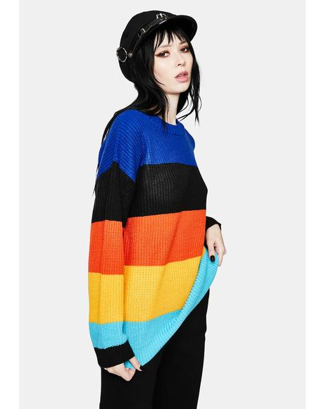 Prismatic Moods Colorblock Knit Sweater