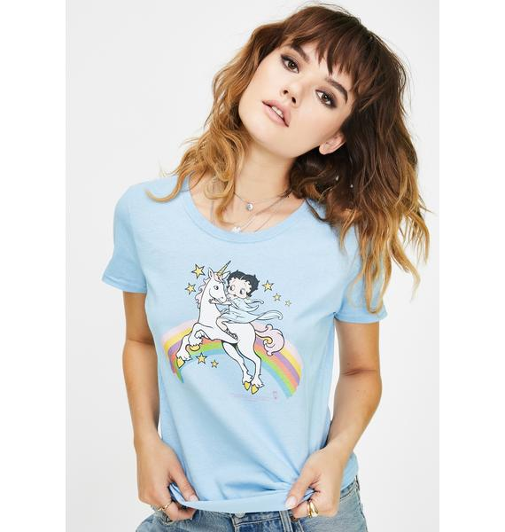 Trevco Betty Boop Unicorn N' Rainbows Graphic Tee