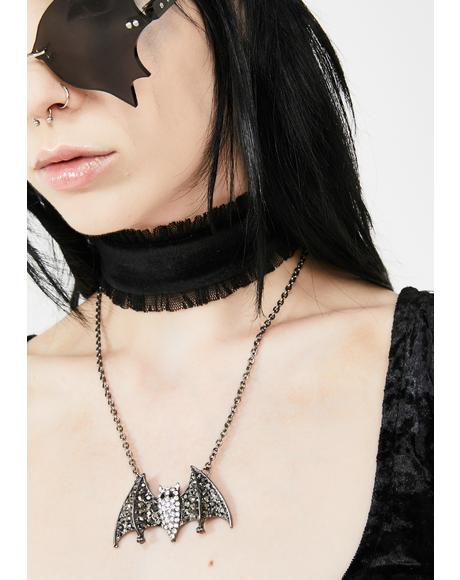 Nocturnal Noise Rhinestone Necklace