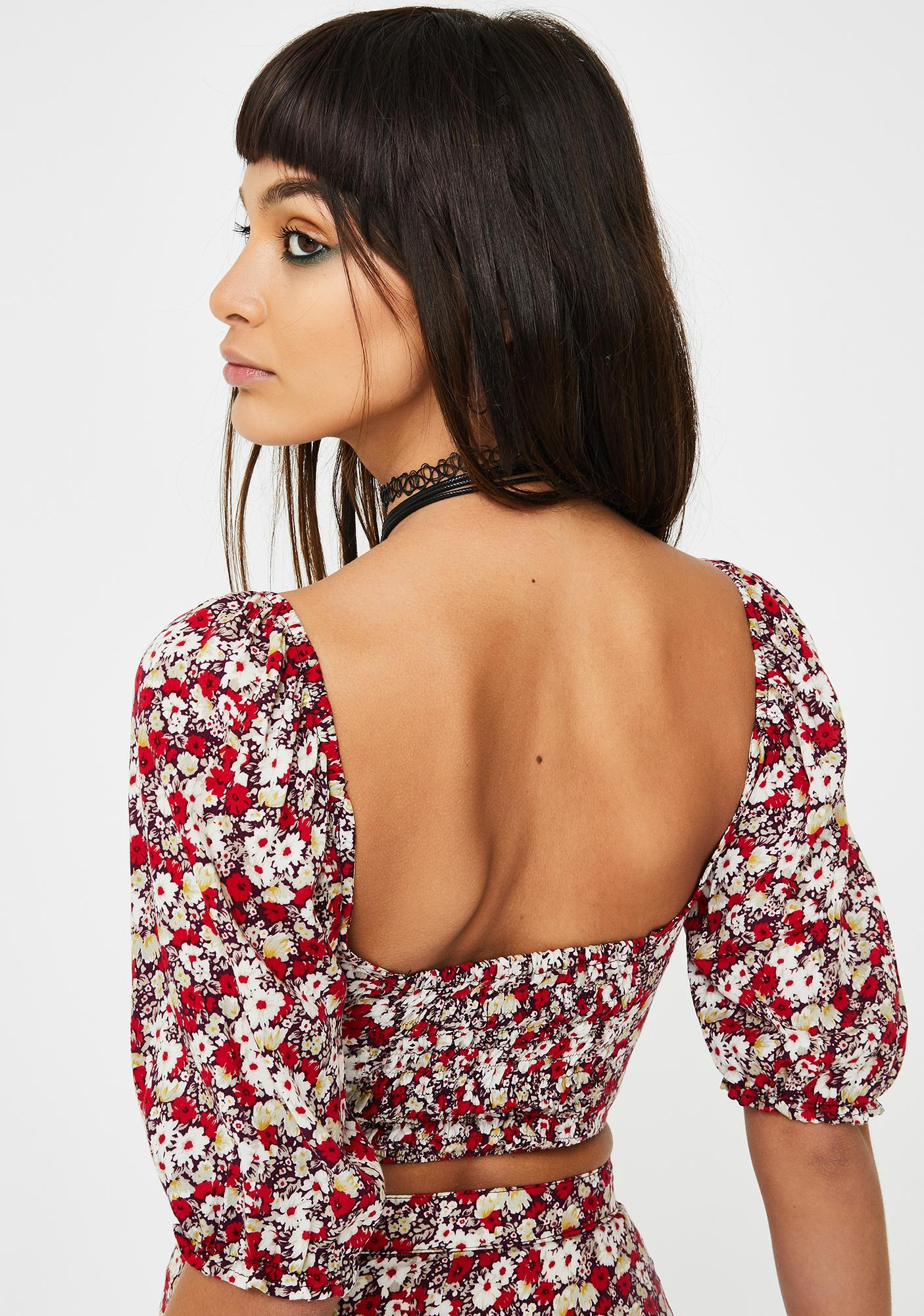 Motel Floral Silvia Crop Top