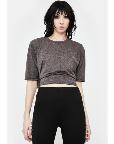Grey Crop Wrap Tee