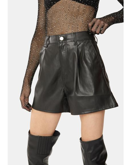 Night High Rise Faux Leather Shorts